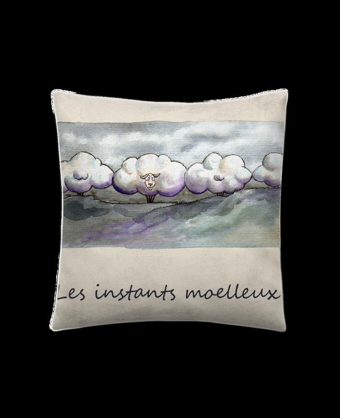 Coussin Toucher Peau de Pêche 45 x 45 cm moutons nuages par Lia Illustration bien-être
