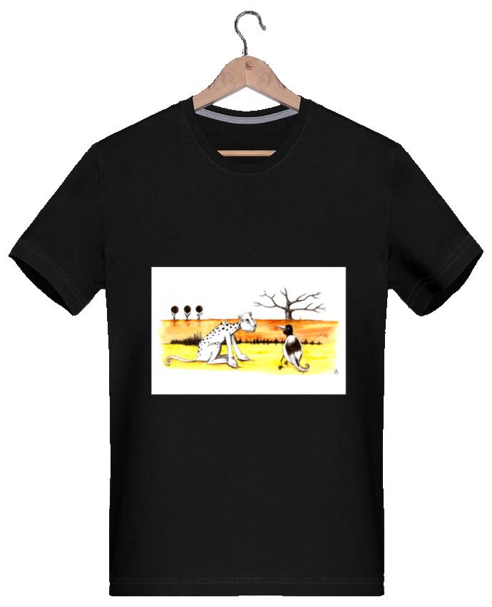 T-shirt Homme 180g Léopard et oiseau, un curieux diaogue dans la savane par Lia Illustration bien-être