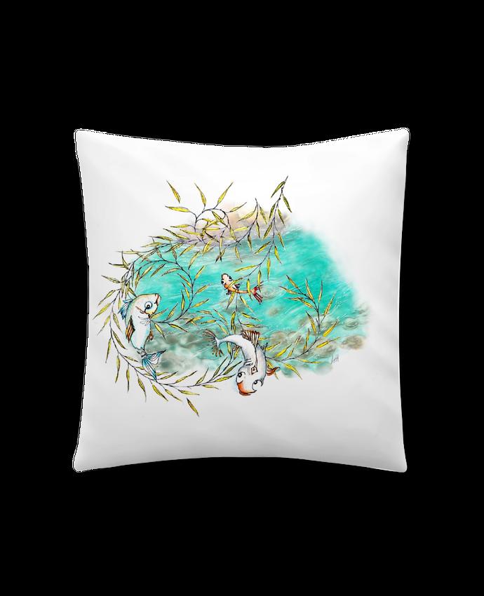 Coussin Synthétique Doux 45 x 45 cm Poissons qui sautent dans le saule pleureur par Lia Illustration bien-être