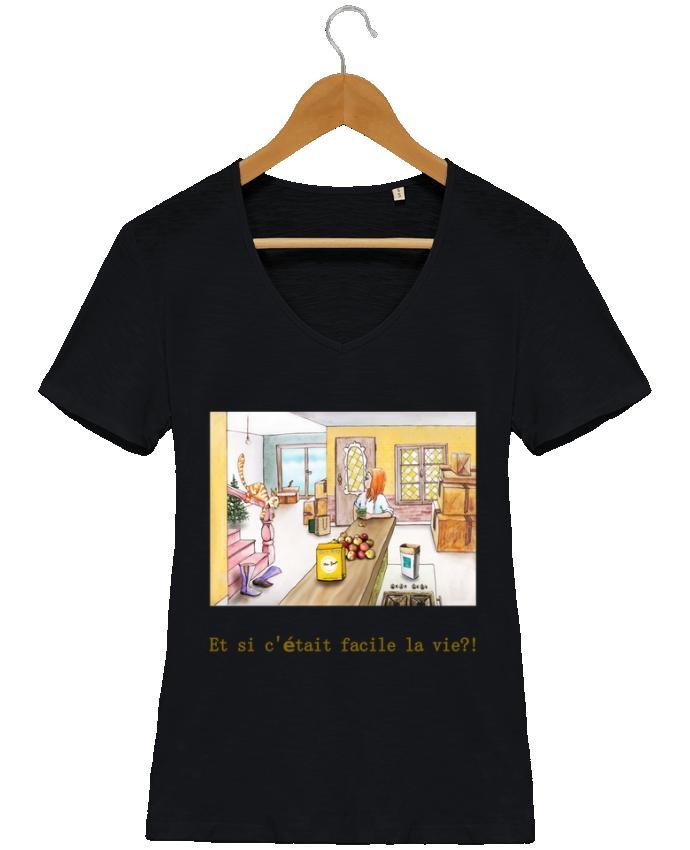 T-shirt Femme Col V Stella Chooses emménagement la vie facile par Lia Illustration bien-être