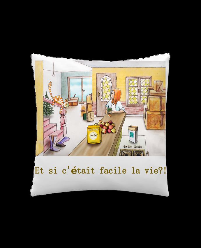 Coussin Synthétique Doux 45 x 45 cm emménagement la vie facile par Lia Illustration bien-être