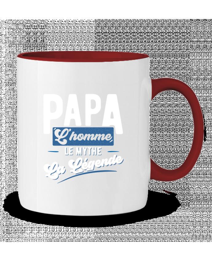 mug en c ramique bicolore papa la l gende cadeau f te des p res original t shirt. Black Bedroom Furniture Sets. Home Design Ideas