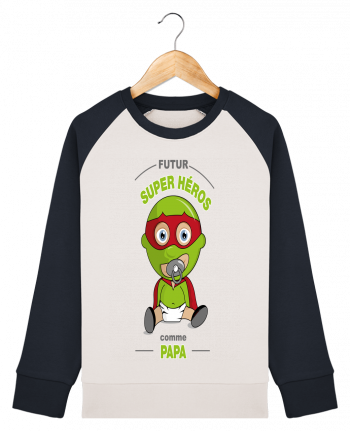 Sweat Shirt Col Rond Enfant Stanley Mini Contrast Futur Super Héros comme papa par GraphiCK-Kids