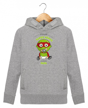 Sweat à Capuche Enfant Stanley Mini Base Futur Super Héros comme papa par GraphiCK-Kids