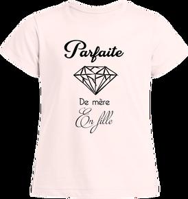 a8fc59401d8e7 T-shirt ethique coton bio fille avec phrase « parfaite de mère en fille »  16.9€