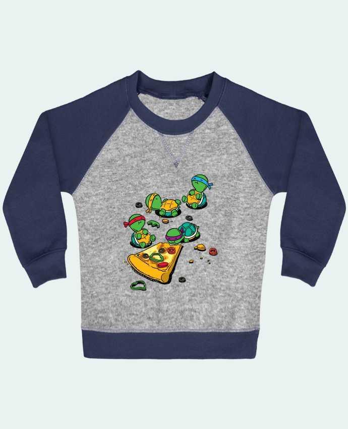 Sweat Shirt Bébé Col Rond Manches Raglan Contrastées Pizza lover par flyingmouse365
