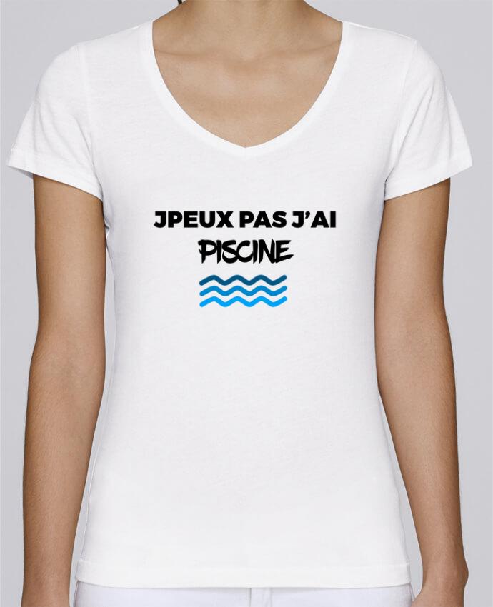 T-shirt Femme Col V Stella Chooses Je peux pas j'ai piscine par tunetoo