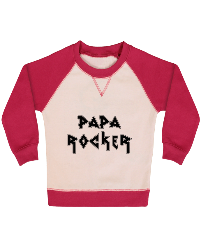 Sweat Shirt Bébé Col Rond Manches Raglan Contrastées Papa rocker par tunetoo