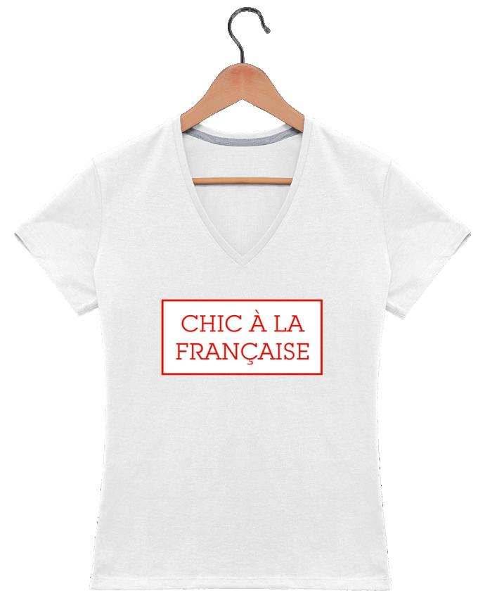 T-shirt Col V Femme 180 gr Chic à la française par tunetoo