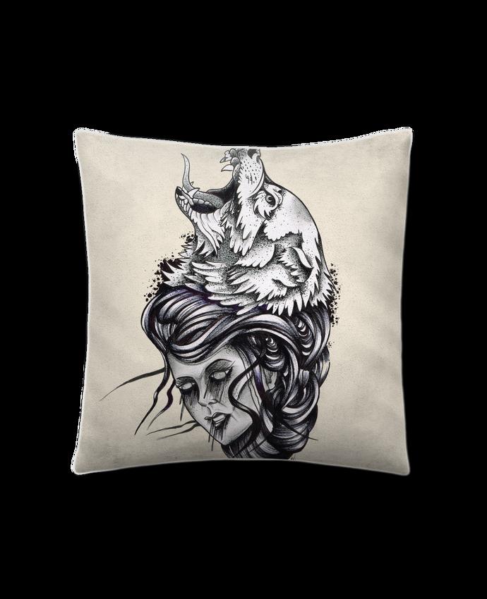Coussin Toucher Peau de Pêche 41 x 41 cm Femme & Loup par david