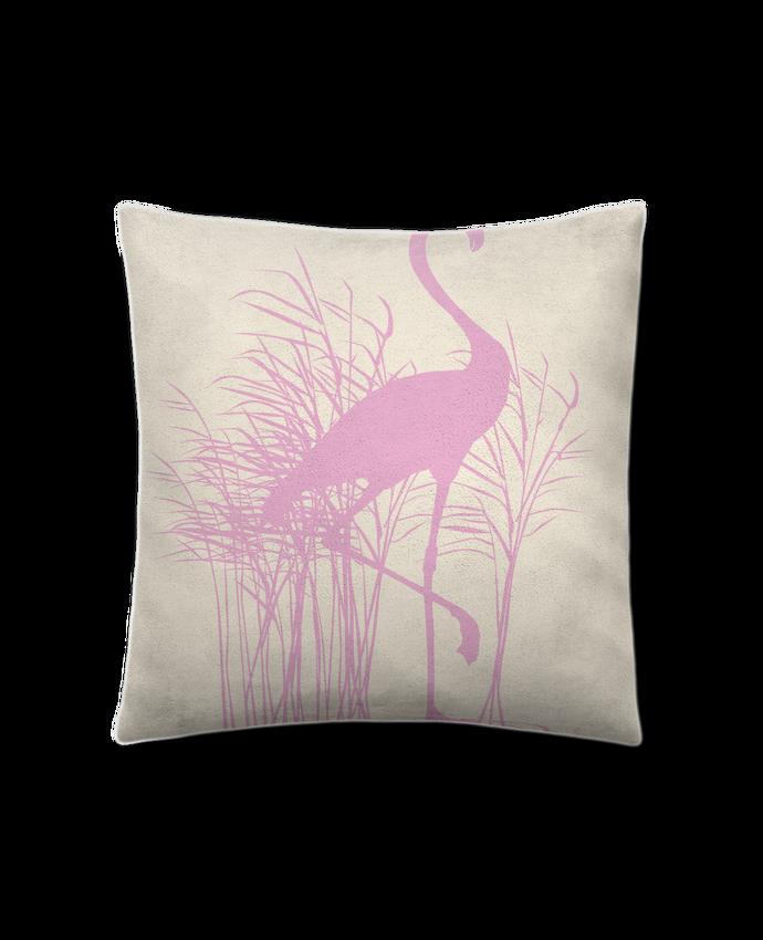 Coussin Toucher Peau de Pêche 41 x 41 cm Flamant rose dans roseaux par Studiolupi