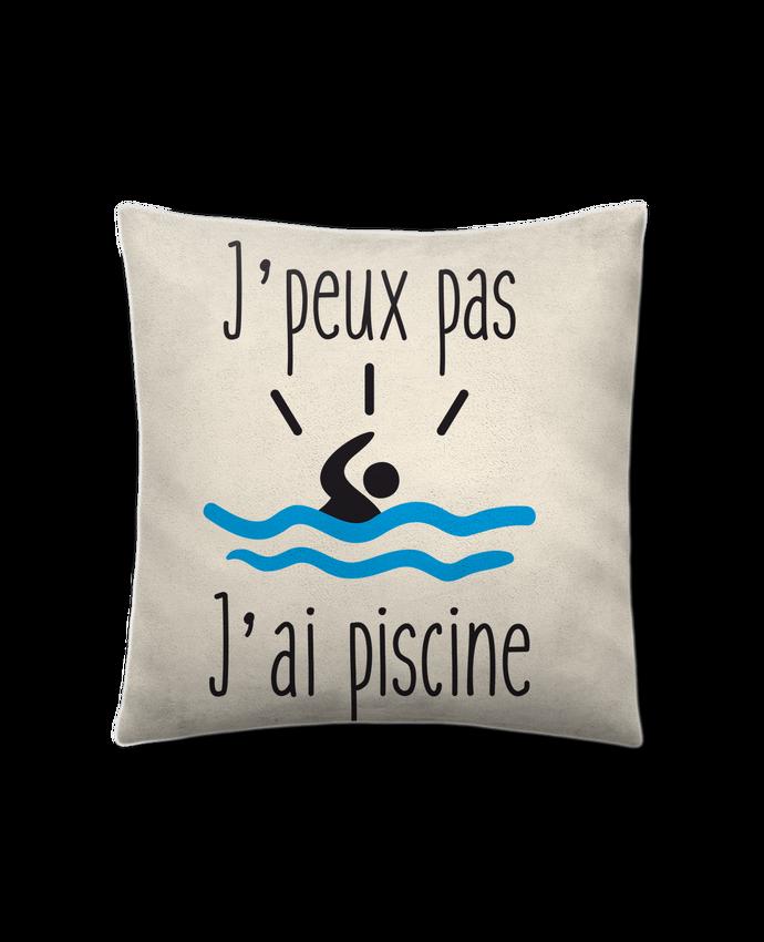 Coussin Toucher Peau de Pêche 41 x 41 cm J'peux pas j'ai piscine par Benichan