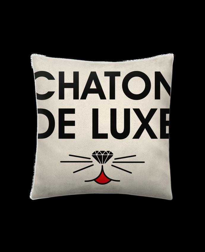 Coussin Toucher Peau de Pêche 41 x 41 cm Chaton de luxe par tunetoo