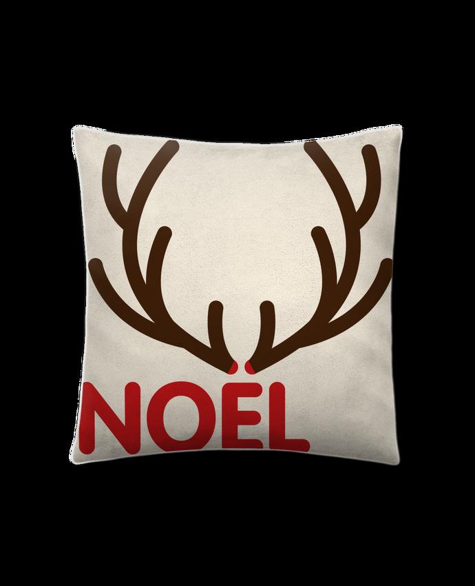 Coussin Toucher Peau de Pêche 41 x 41 cm Noël avec bois de renne par tunetoo