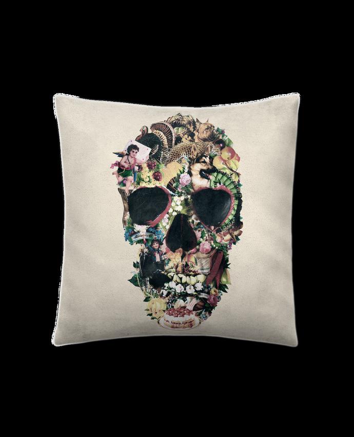 Coussin Toucher Peau de Pêche 41 x 41 cm Vintage Skull par ali_gulec
