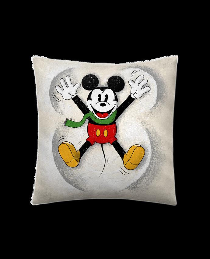 Coussin Toucher Peau de Pêche 41 x 41 cm Mickey in snow par Florent Bodart