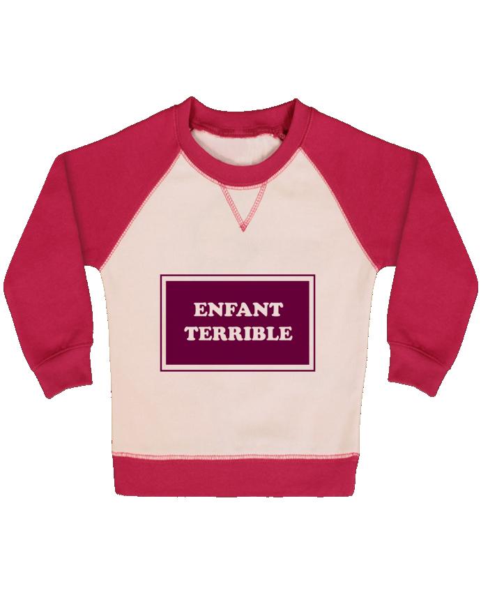 Sweat Shirt Bébé Col Rond Manches Raglan Contrastées Enfant terrible par tunetoo