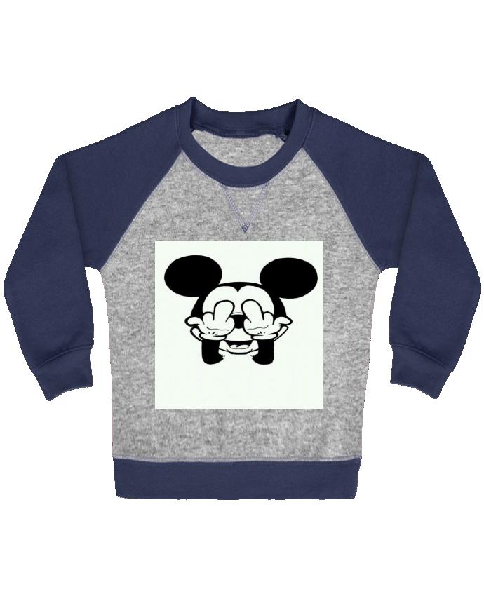 Sweat Shirt Bébé Col Rond Manches Raglan Contrastées Vetement mickey doigt d'honneur par mateo