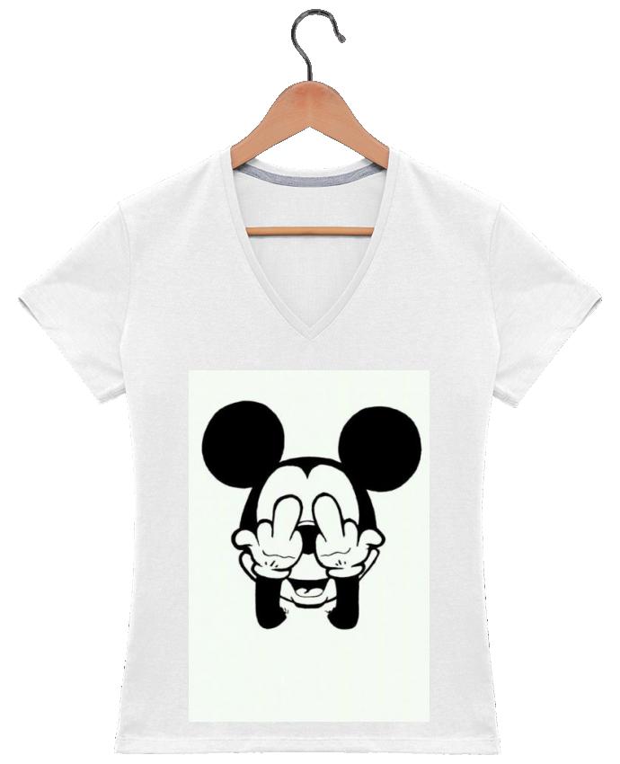 T-shirt Col V Femme 180 gr Vetement mickey doigt d'honneur par mateo