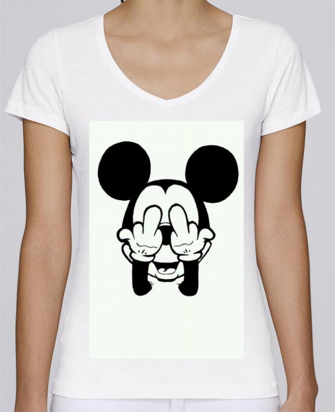 T-shirt Femme Col V Stella Chooses Vetement mickey doigt d'honneur par mateo