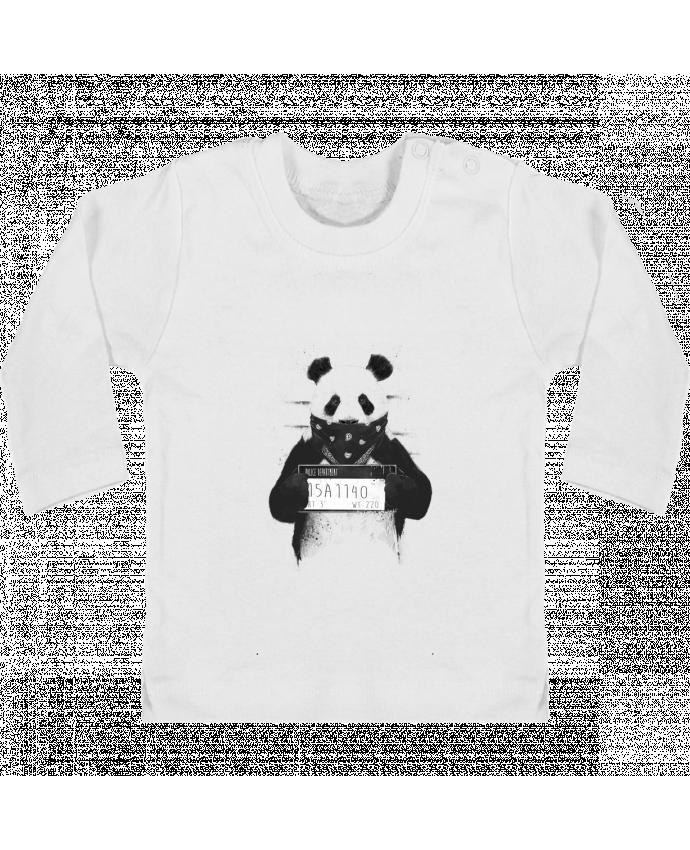 T-shirt Bébé Manches Longues Boutons Pression Bad panda manches longues du designer Balàzs Solti