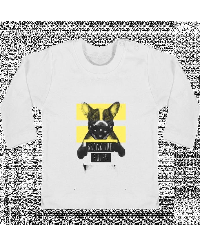 T-shirt Bébé Manches Longues Boutons Pression rebel_dog_yellow manches longues du designer Balàzs Solti