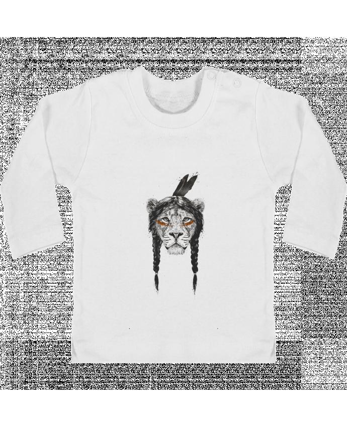 T-shirt Bébé Manches Longues Boutons Pression warrior_lion manches longues du designer Balàzs Solti