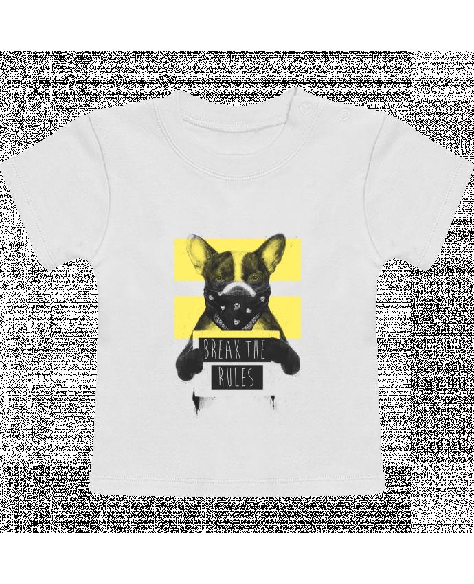 T-shirt bébé rebel_dog_yellow manches courtes du designer Balàzs Solti