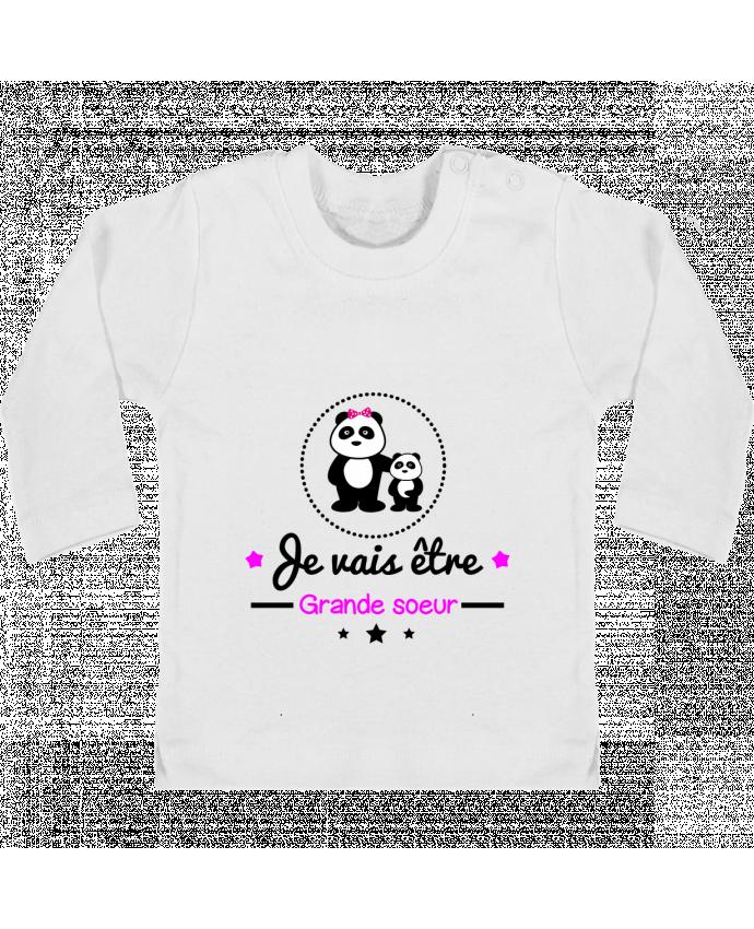 T-shirt Bébé Manches Longues Boutons Pression Bientôt grande soeur - Future grande soeur manches longues du designer Benichan