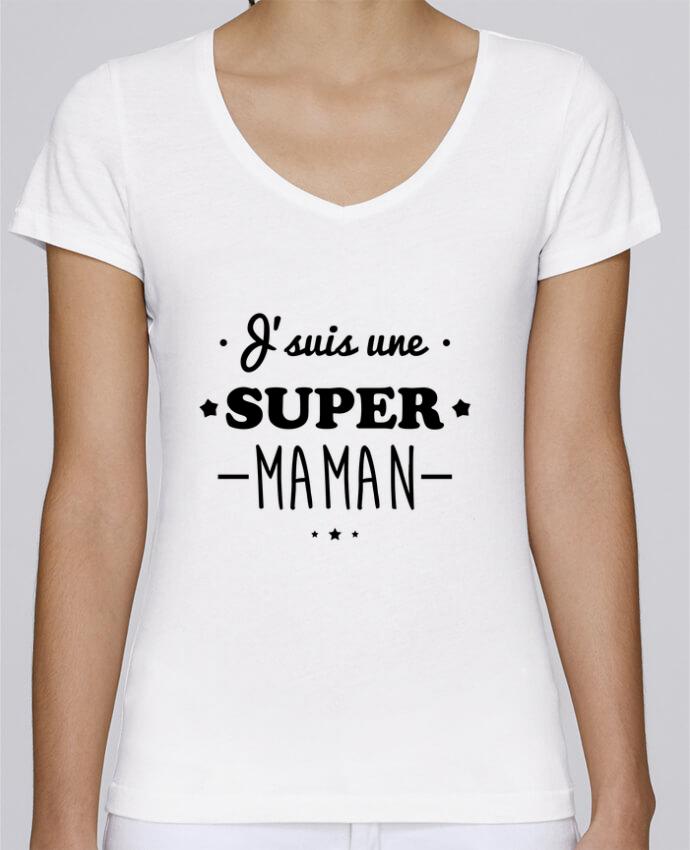 T-shirt Femme Col V Stella Chooses J'suis une super maman, cadeau fête des mères par Benichan