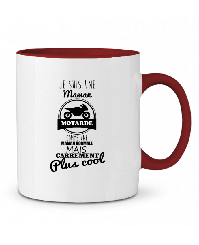 Mug en Céramique Bicolore Maman motarde, cadeau mère, moto Benichan