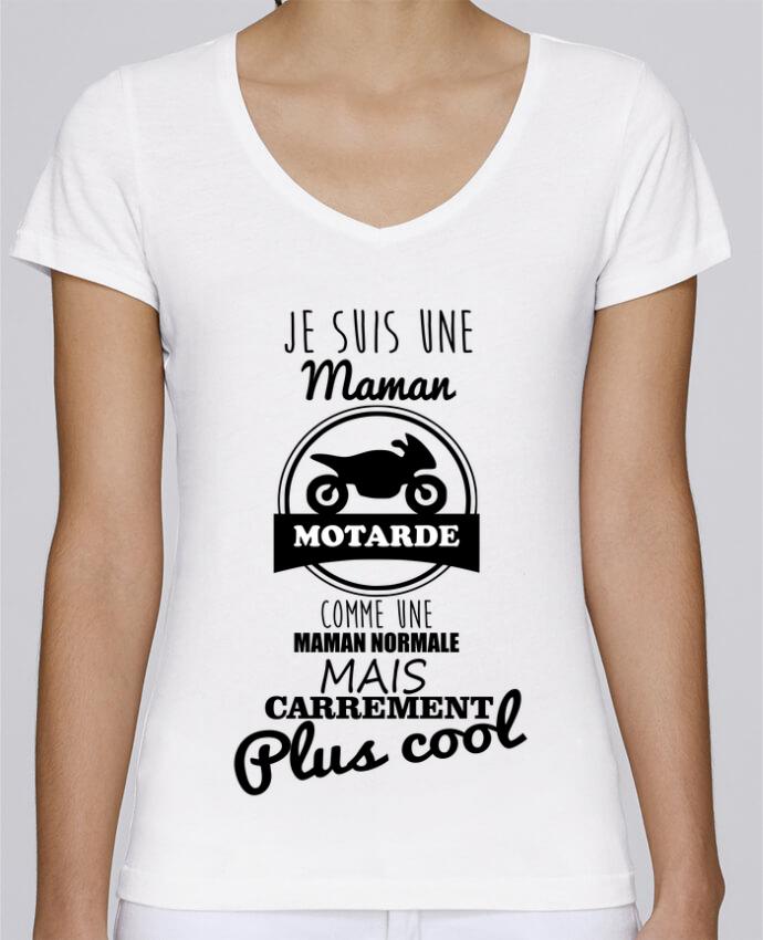 T-shirt Femme Col V Stella Chooses Maman motarde, cadeau mère, moto par Benichan