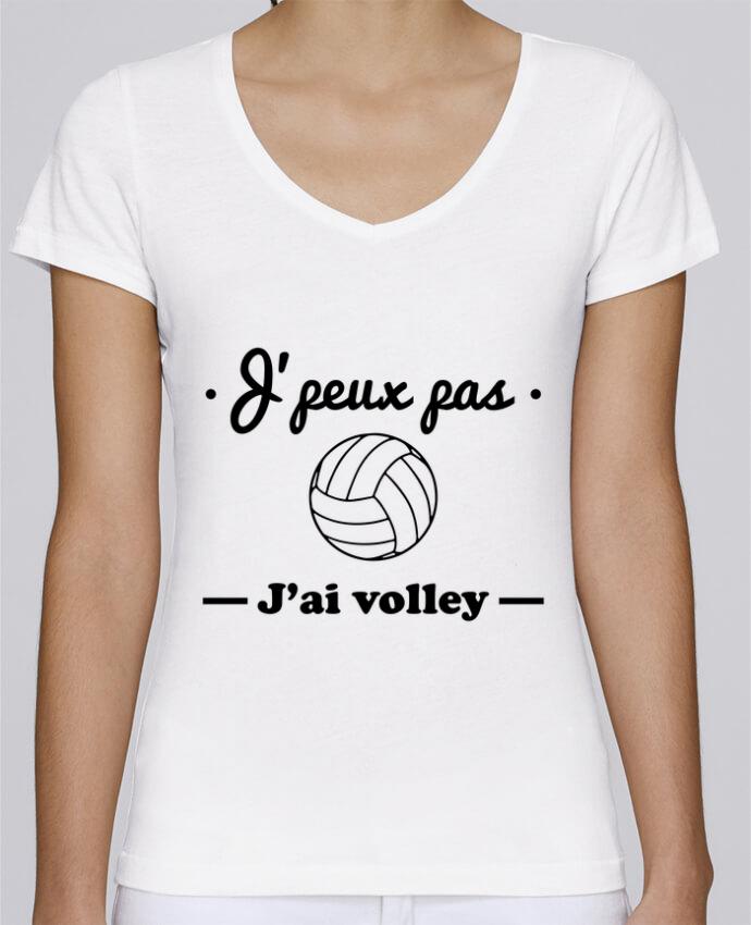 T-shirt Femme Col V Stella Chooses J'peux pas j'ai volley , volleyball, volley-ball par Benichan