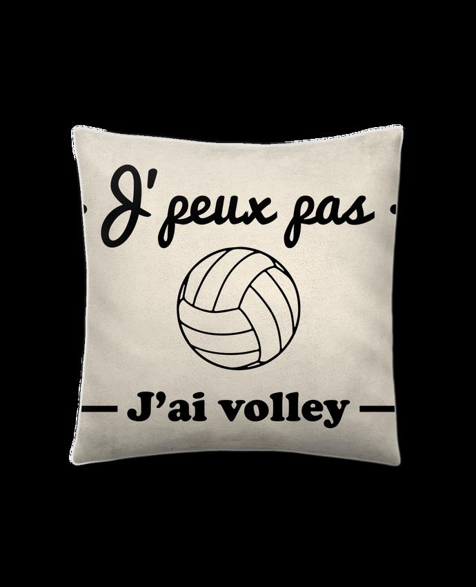 Coussin Toucher Peau de Pêche 41 x 41 cm J'peux pas j'ai volley , volleyball, volley-ball par Benichan