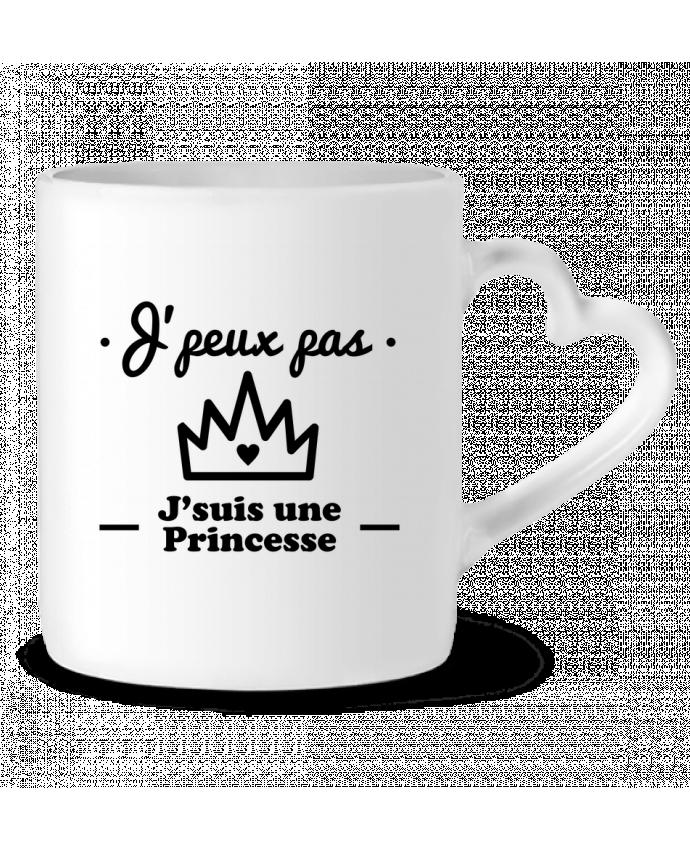 Mug Coeur J'peux pas j'suis une princesse, humour, citations, drôle par Benichan
