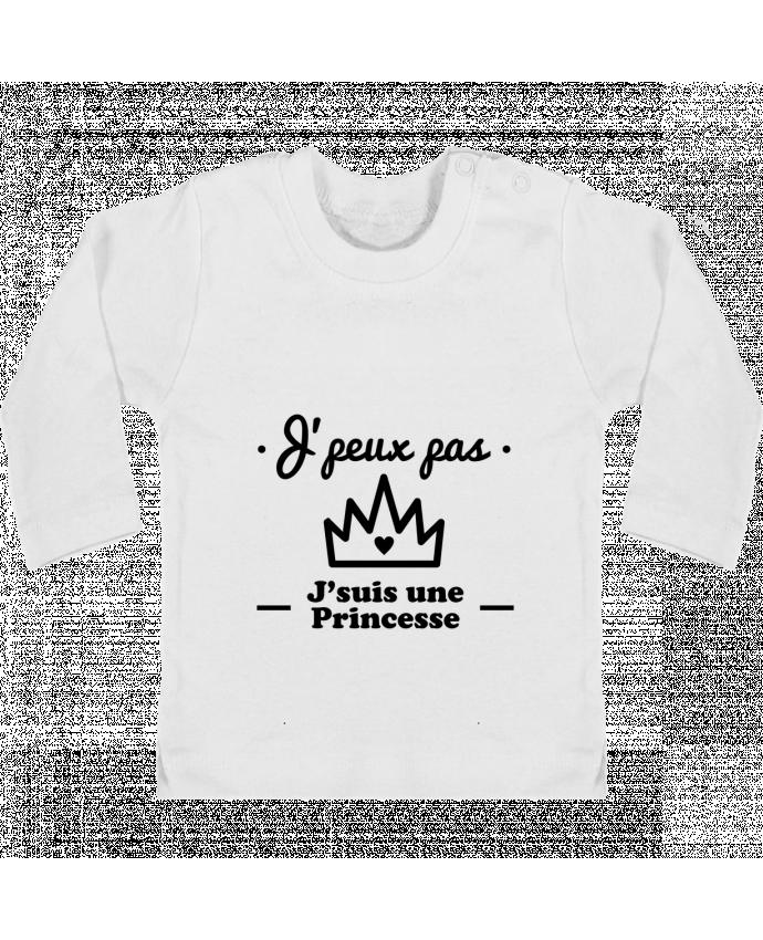 T-shirt Bébé Manches Longues Boutons Pression J'peux pas j'suis une princesse, humour, citations, drôle manches longues du designer