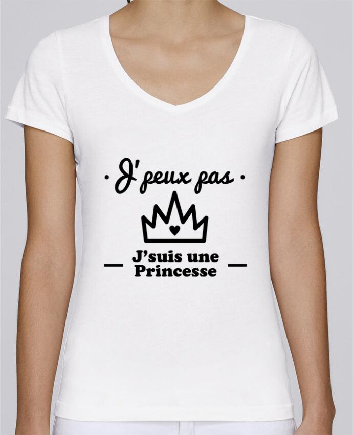 T-shirt Femme Col V Stella Chooses J'peux pas j'suis une princesse, humour, citations, drôle par B