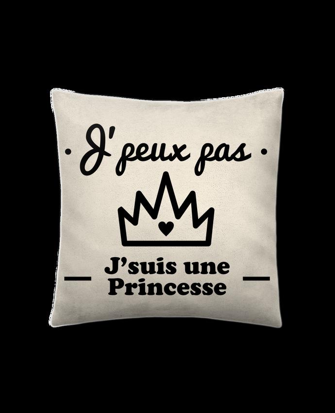 Coussin Toucher Peau de Pêche 41 x 41 cm J'peux pas j'suis une princesse, humour, citations, drôle par Benichan
