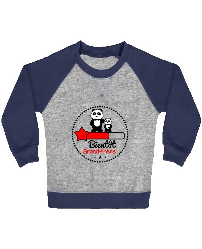 Sweat Shirt Bébé Col Rond Manches Raglan Contrastées Bientôt grand-frère , futur grand frère par Benichan