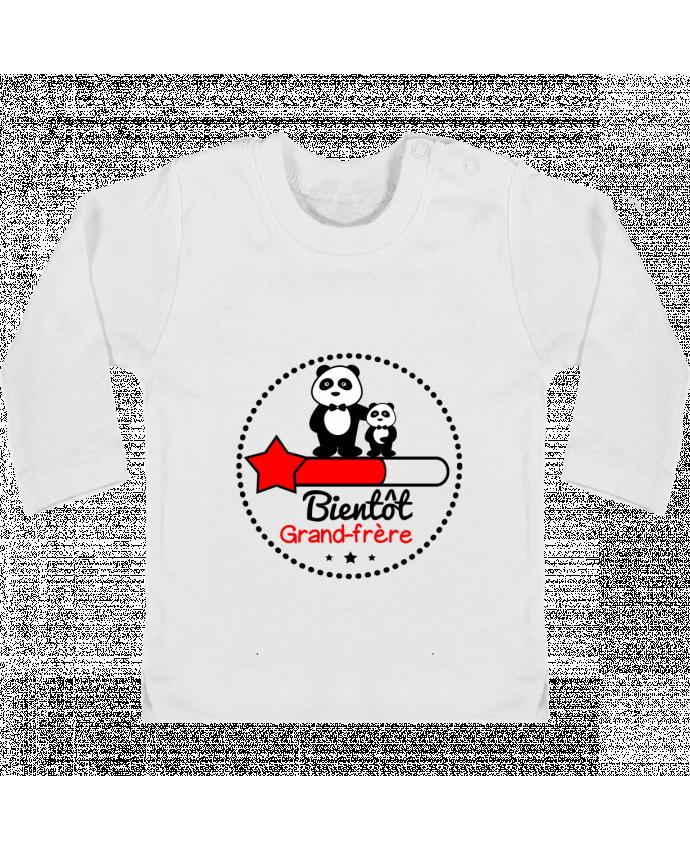 T-shirt Bébé Manches Longues Boutons Pression Bientôt grand-frère , futur grand frère manches longues du designer Benichan
