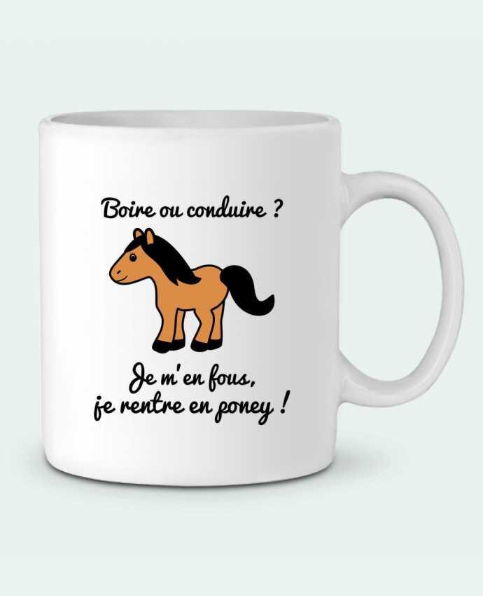 Mug en Céramique Boire ou conduire, je m'en fous je rentre en poney, humour, alcool, drôle par Benichan