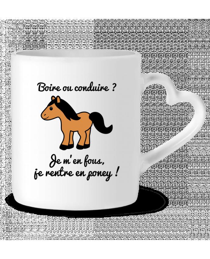 Mug Coeur Boire ou conduire, je m'en fous je rentre en poney, humour, alcool, drôle par Benichan