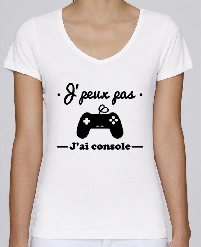 T-shirt Femme Col V Stella Chooses J'peux pas j'ai console ,geek,gamer,gaming par Benichan