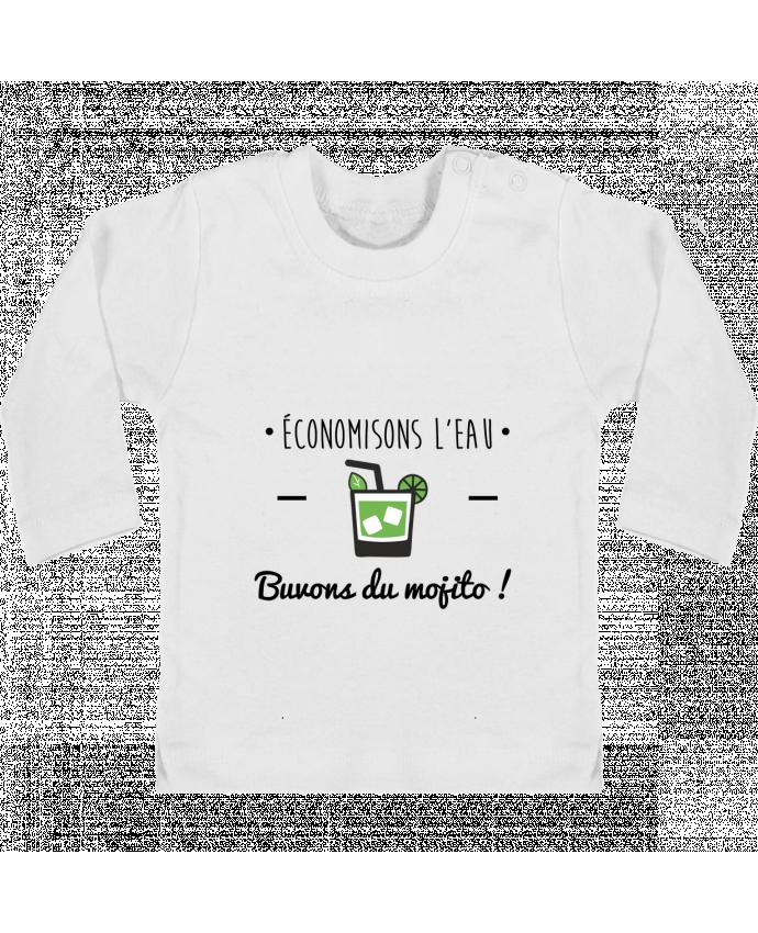 T-shirt Bébé Manches Longues Boutons Pression Économisons l'eau, buvons du mojito ! Humour , alcool , citations manches longues du d