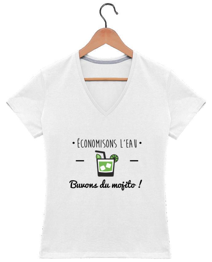 T-shirt Col V Femme 180 gr Économisons l'eau, buvons du mojito ! Humour , alcool , citations par Benichan
