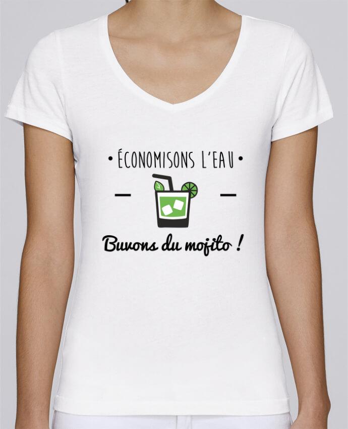 T-shirt Femme Col V Stella Chooses Économisons l'eau, buvons du mojito ! Humour , alcool , citation