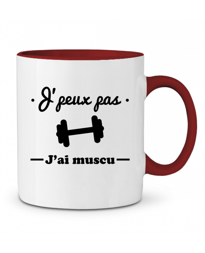 Mug en Céramique Bicolore J'peux pas j'ai muscu, musculation Benichan