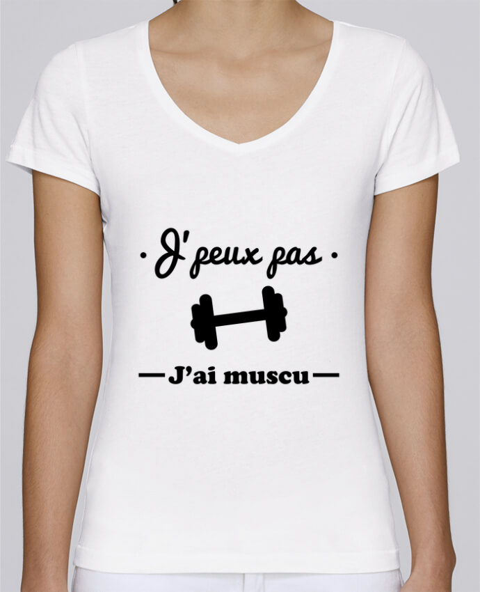 T-shirt Femme Col V Stella Chooses J'peux pas j'ai muscu, musculation par Benichan