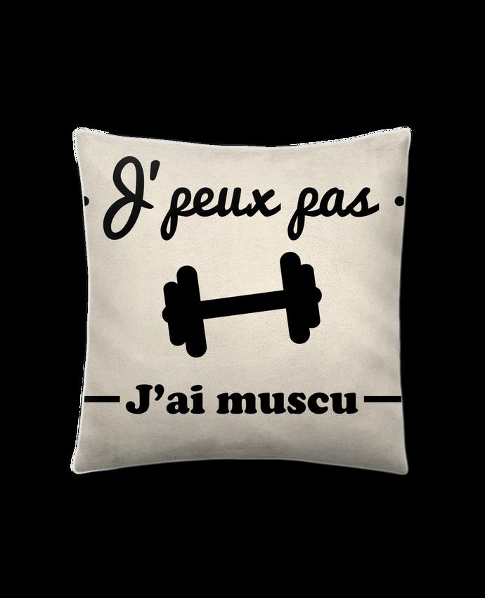 Coussin Toucher Peau de Pêche 41 x 41 cm J'peux pas j'ai muscu, musculation par Benichan