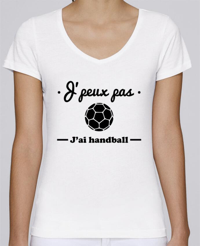 T-shirt Femme Col V Stella Chooses J'peux pas j'ai handball ,  tee shirt handball, hand par Benich